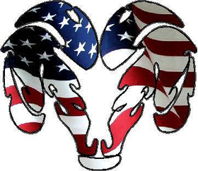American Flag Ram 01 Decal / Sticker