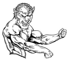 Weightlifting Buffalo Mascot Decal / Sticker wt4