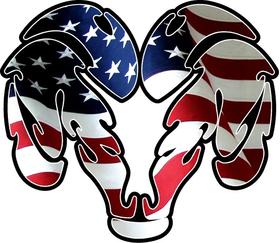 American Flag Ram Decal / Sticker 04