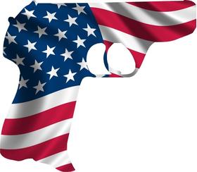 American Flag Hand Gun Decal / Sticker 10