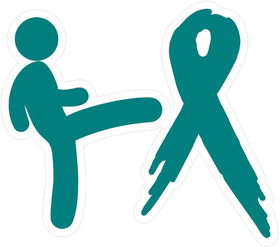 Kicking Ovarian Cancer's Ass Decal / Sticker 01