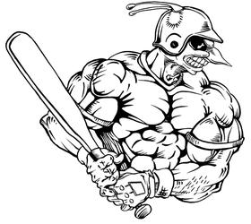 Baseball Batter Hornet, Yellow Jacket, Bee Mascot Decal / Sticker 05