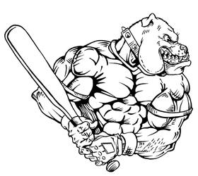 Baseball Bulldog Mascot Decal / Sticker 05