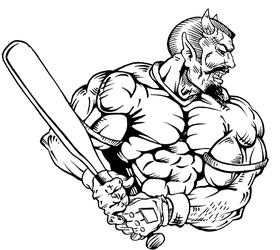 Baseball Devils Mascot Decal / Sticker 4