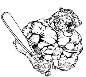Baseball Leopard Mascot Decal / Sticker 4