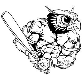 Baseball Owls Mascot Decal / Sticker 2
