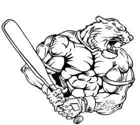 Baseball Cougars / Panthers Mascot Decal / Sticker 2