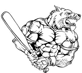 Baseball Wolves Mascot Decal / Sticker 1