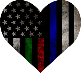 Thin Blue/Red/Green Line American Flag Heart Decal / Sticker 18