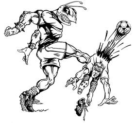 Soccer Hornet, Yellow Jacket, Bee Mascot Decal / Sticker 2