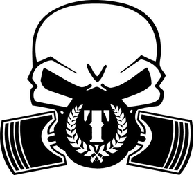 Triumph Piston Gas Mask Skull Decal / Sticker 28