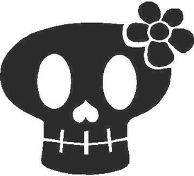 Flower Skull Decal / Sticker 14
