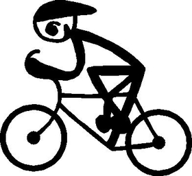Bicycle Stick Figure Decal / Sticker 02