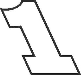 1 Race Number Rockwell Extra Bold Font Decal / Sticker