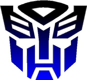 Black fade to Blue Autobot Decal / Sticker