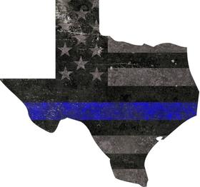 Texas Thin Blue Line Blue Lives Matter American Flag Decal / Sticker 05