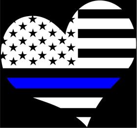 Thin Blue Line Flag Heart Decal / Sticker 19