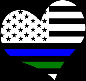 Thin Blue/Green Line Flag Heart Decal / Sticker 20