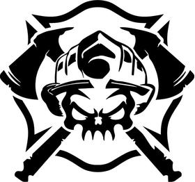 Firefighter Skull Decal / Sticker 06