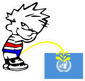 Z1 Pee on United Nations Flag Decal / Sticker