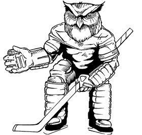 Hockey Owls Mascot Decal / Sticker 1