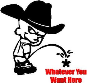 Z1 Pee On Decal / Sticker - Cowboy Kid Design