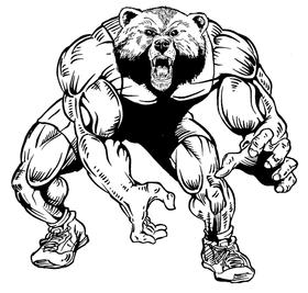 Wrestling Bears Mascot Decal / Sticker 05