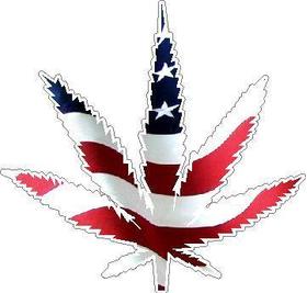 American Flag Pot Leaf Decal / Sticker
