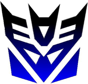 Black fade to Blue Decepticon Decal / Sticker