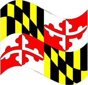 Maryland State Flag Waving Decal / Sticker 03