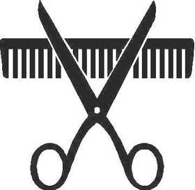 Comb and Scissors Decal / Sticker