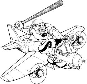 Pirate on a Plane Baseball Mascot Decal / Sticker