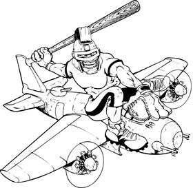 Trojans Baseball Mascot on a Plane Decal / Sticker