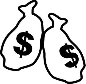 Money Bags Stick Figure Decal / Sticker 02