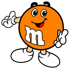 Orange M&M Decal / Sticker 09