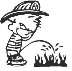Z1 Pee On Decal / Sticker - Fire Kid Design 2