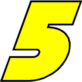 5 Race Number Bahamas Heavy Font 2 Color Decal / Sticker