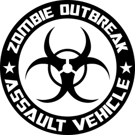 ' Zombie Outbreak Assault Vehicle Decal / Sticker 06