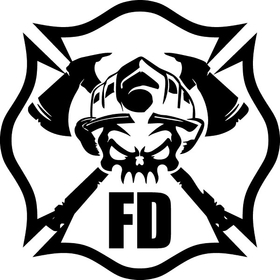 Firefighter Skull Decal / Sticker 04