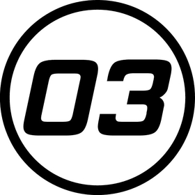 03 Race Number Hemihead Font Decal / Sticker Circle a