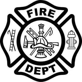 Fireman FIRE DEPT Maltese Cross Decal / Sticker 05