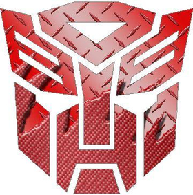 Transformers Autobot 06 Red Carbon Plate  Decal / Sticker