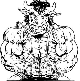 Weightlifting Buffalo Mascot Decal / Sticker