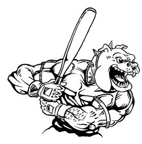 Baseball Bulldog Mascot Decal / Sticker 09