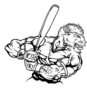 Baseball Buffalo Mascot Decal / Sticker ba9