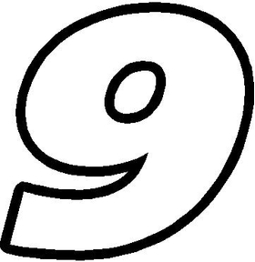 9 Race Number Decal / Sticker OUTLINE