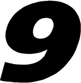 9 Race Number Decal / Sticker SOLID