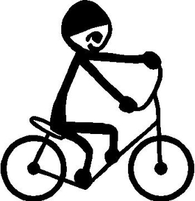 Bicycle Stick Figure Decal / Sticker 01