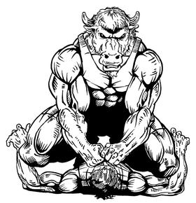 Wrestling Buffalo Mascot Decal / Sticker wr1