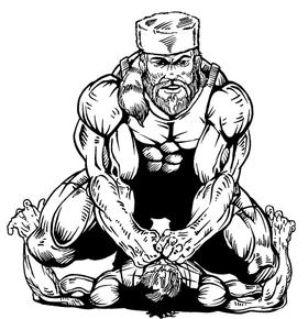 Wrestling Frontiersman Mascot Decal / Sticker 1
